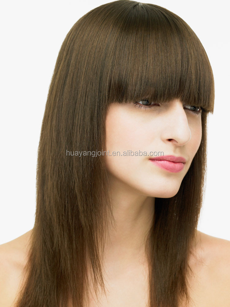 High-End 100 Human Hair Wig Silky Straight Virgin Hair Lace Front Wig With Neat Bangs