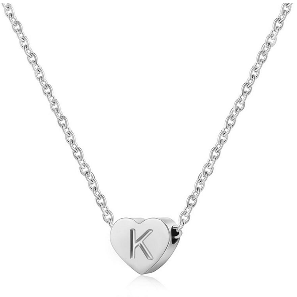 Strong Color Keeping Letter Initial Necklace Stainless Steel Women Love Heart Necklaces Fashion Jewelry initial necklace