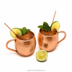 Moscow Mule Copper Mugs,Hand Hammered 100% Food Safe Copper Cups with 2 Copper Straws,Perfect Gift for family and friends cup