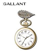 Graceful brooch pocket watch with beautiful diamonds leaf for ladies