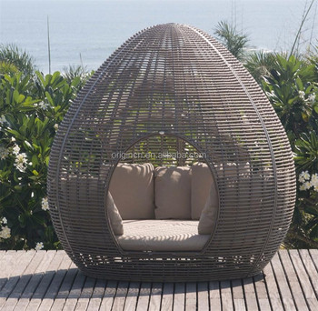 Beach Hotel Use Outdoor Sun Leisure Rattan Canopy Lounger Cane Egg Shaped Patio Furniture