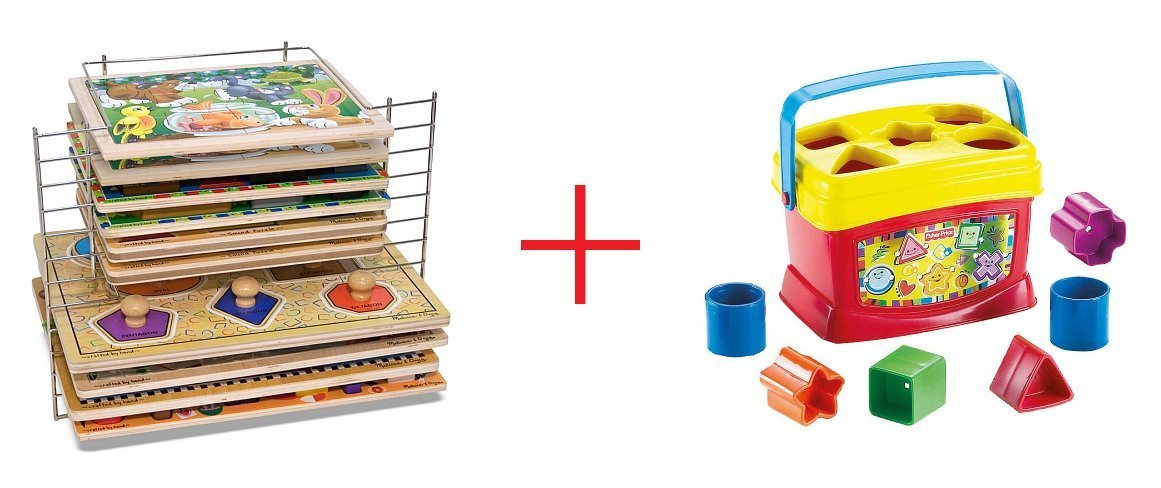 Melissa And Doug Deluxe Wire Puzzle Rack and Fisher-Price Baby's First Blocks - Bundle