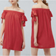 2016 sleeveless off shoulders with pleat design women red simple plain dress in cheap price
