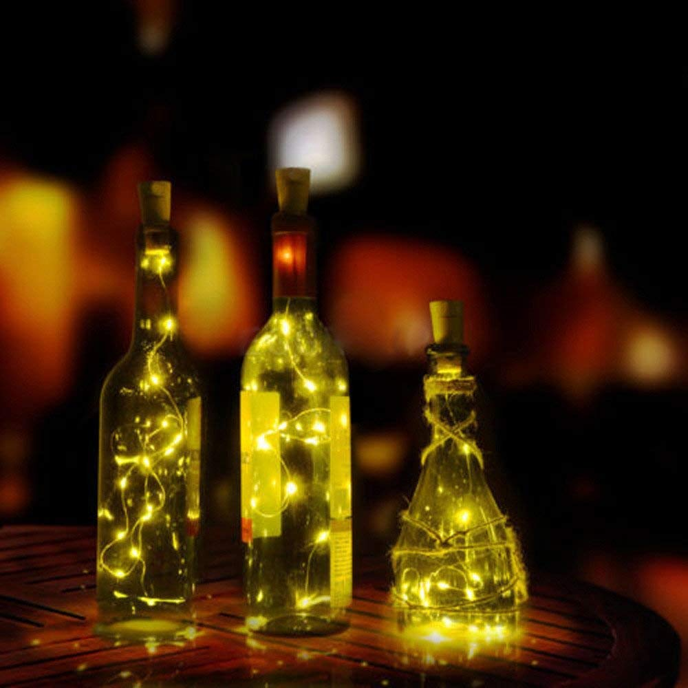 Yezijin Solar LED Lamp, 1/2/5PCS 1.5M Solar Cork Wine Bottle Stopper Copper Wire String Lights Fairy Lamps (2PCS, Yellow)