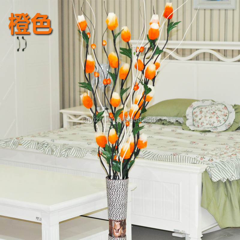 laranja tulipa ramo artificial seca flor artesanal pure secas ramos de salgueiro cmh falso planta ramo