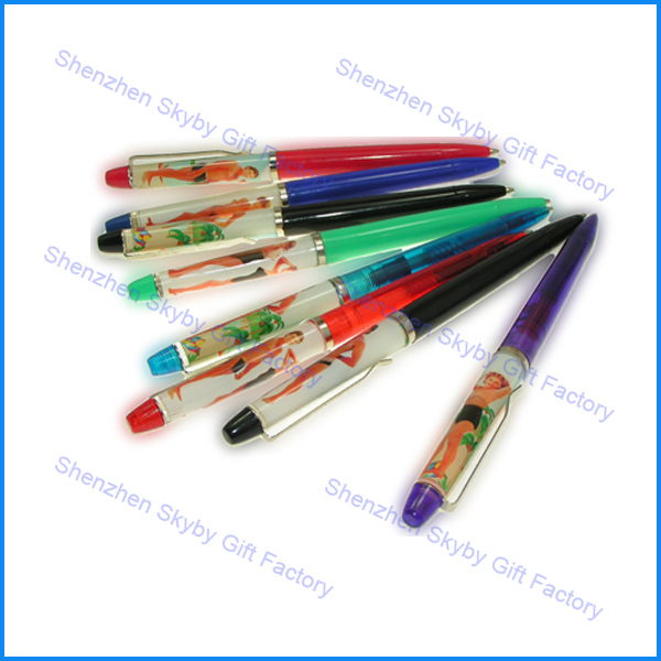 Naked Female Stripper Floaty Pens Girl Woman Tip and Strip (Qty 6 Pack)
