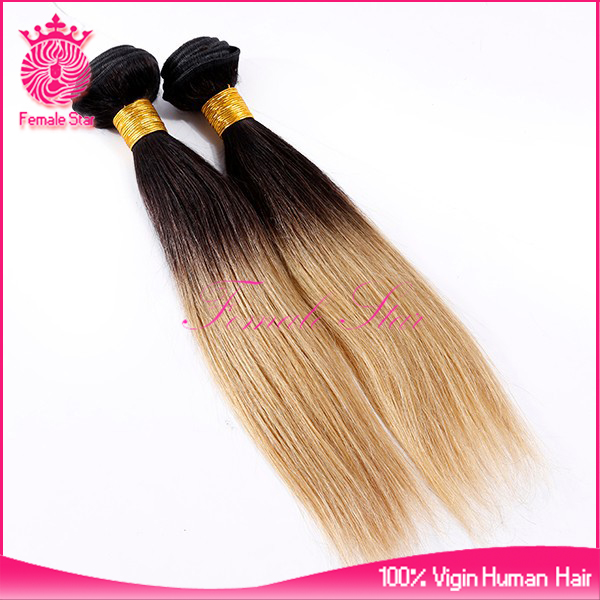 Factory price Human Hair Two Tone ombre Straight Peruvian crochet hair extension