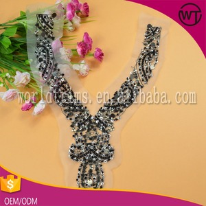 Garment accessory supplier Ladies dress beaded neck trim