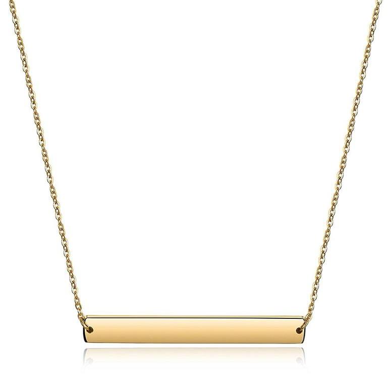 8a5661311769 Venta al por mayor collar de cadena larga de joyería personalizada nombre  Bar 18 k oro