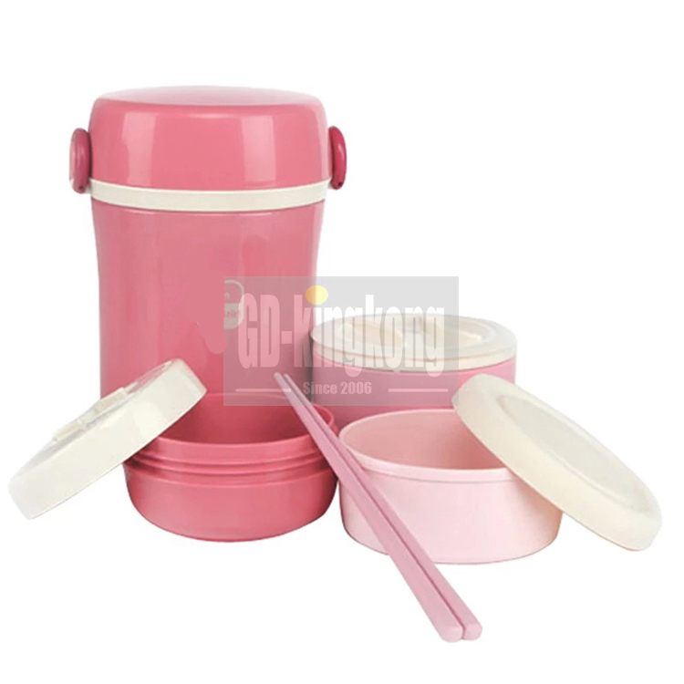 2 Compartment korean style 304 vacuum pink stainless steel kids tiffin food warmer container bento box lunch box with lock