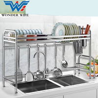 Household Kitchen Stainless Steel Metal Storage Bowl Utensil Wall Plate Tray Rack Drain Dish Drying Rack