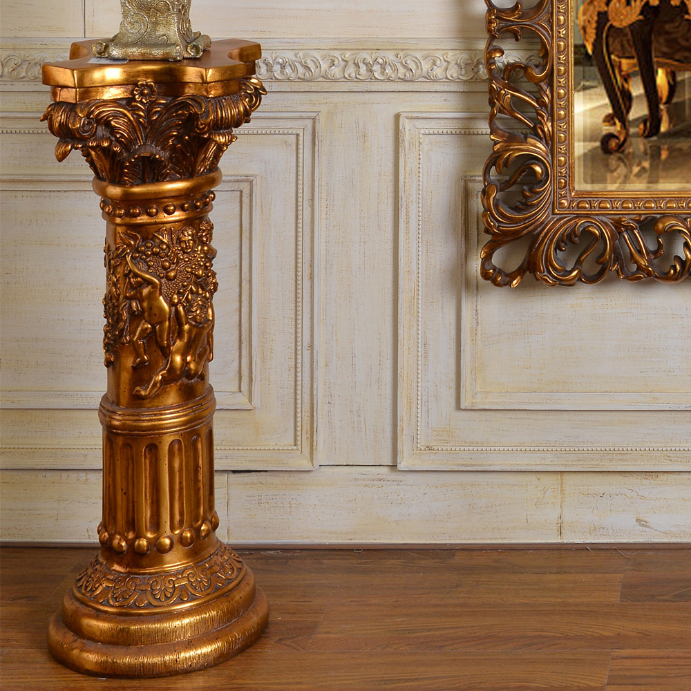 Pu839 european style antique gold small pillar flower for Antiques decoration