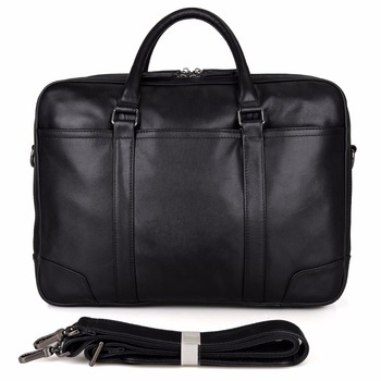 7348A JMD Fashion High Quality Full Grain Leather Men's Laptop Bag Handbag Black Computer Briefcase