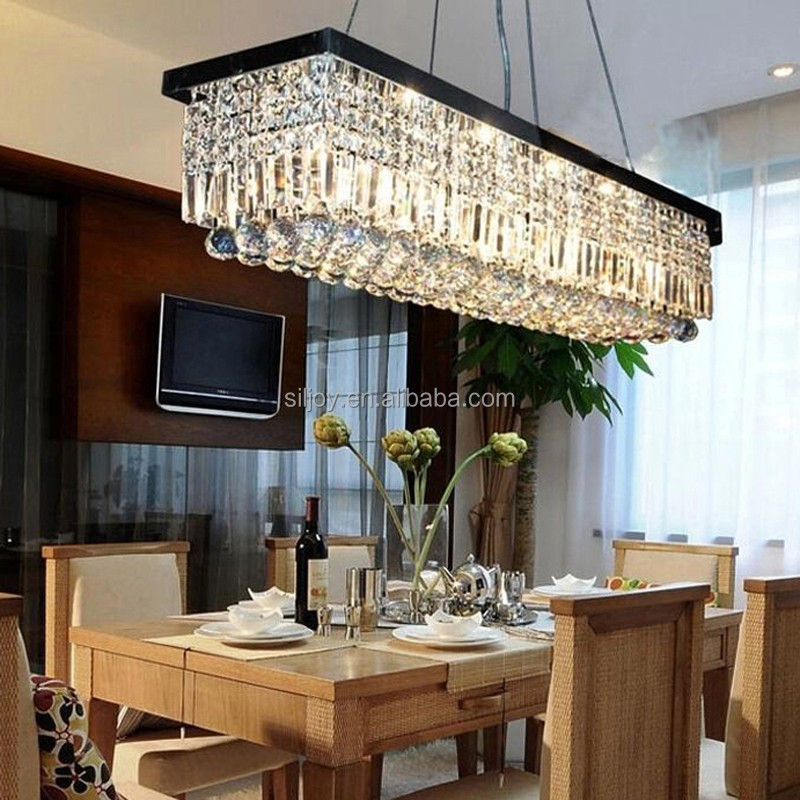 Rectangular Fashion Light Pendant Lamp Bar Art Crystal Chandelier ...