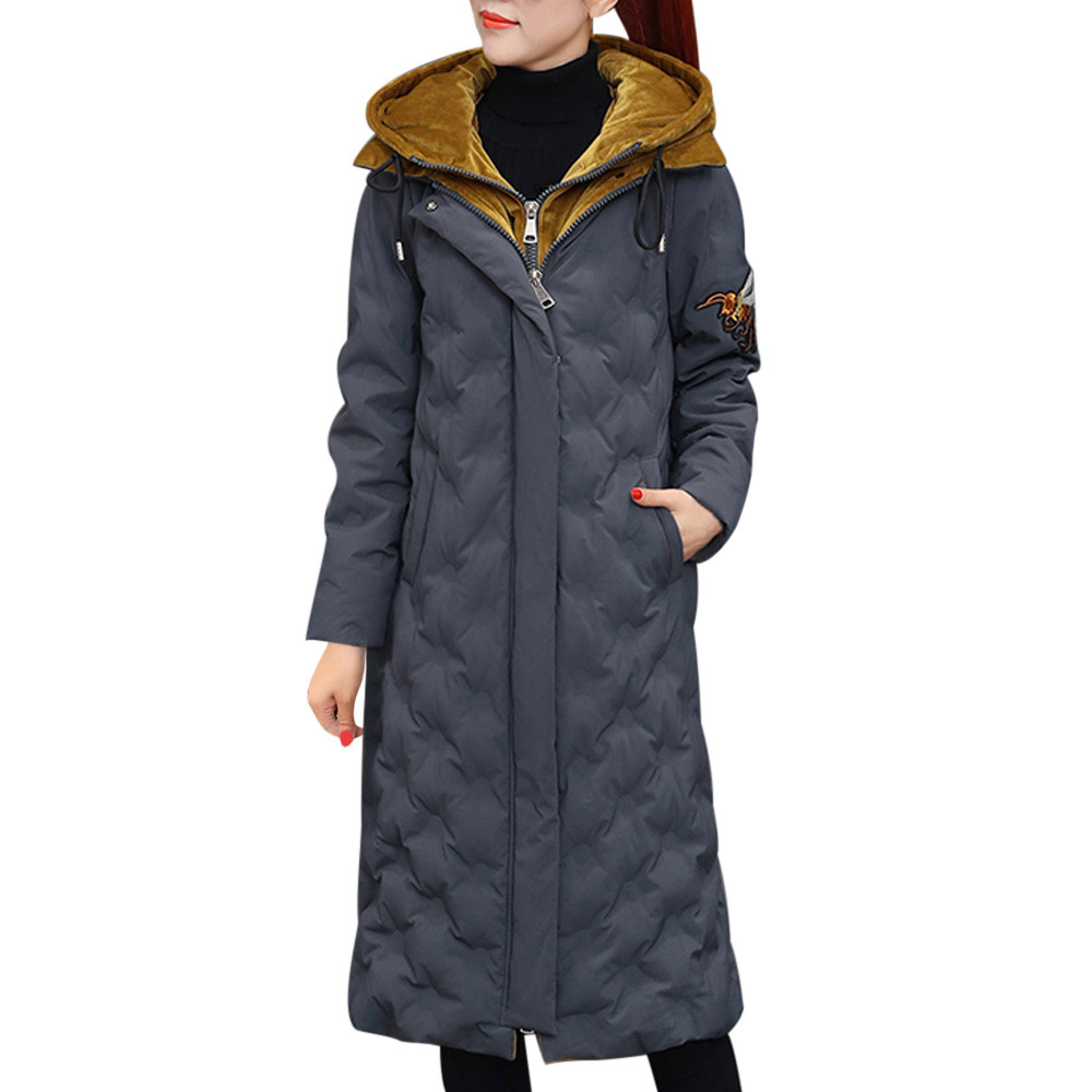 8b933dcab02 Las mujeres con capucha de invierno Outwear cálido abrigo largo de algodón  grueso grueso Parka delgado