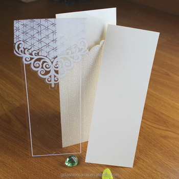 Pocket Shape Powder Decorated Luxurious Plastic Wedding Invitation Cards