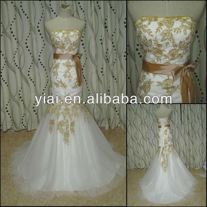 Jj2750 Newest Beaded Mermaid Lace White With Gold Wedding Dresses Dress Beadings