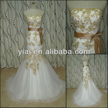 Jj2750 Newest Beaded Mermaid Lace White With Gold Wedding Dresses ...