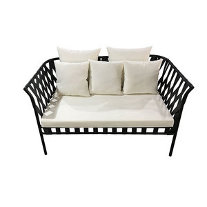 modern italian fair price 3 seater used stackable rattan black Couch sofa Design for sale