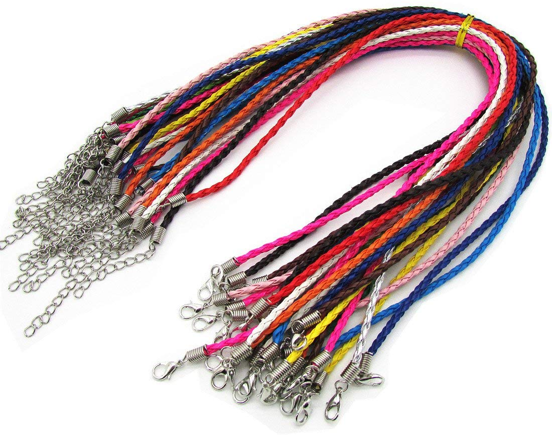 50Pcs Cord Necklace Round Folded Bolo Braided PU Leather Assorted Color Necklace Cord With Lobster Clasp 18''