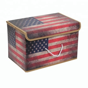Leather printing collapsible toy storage box with lid