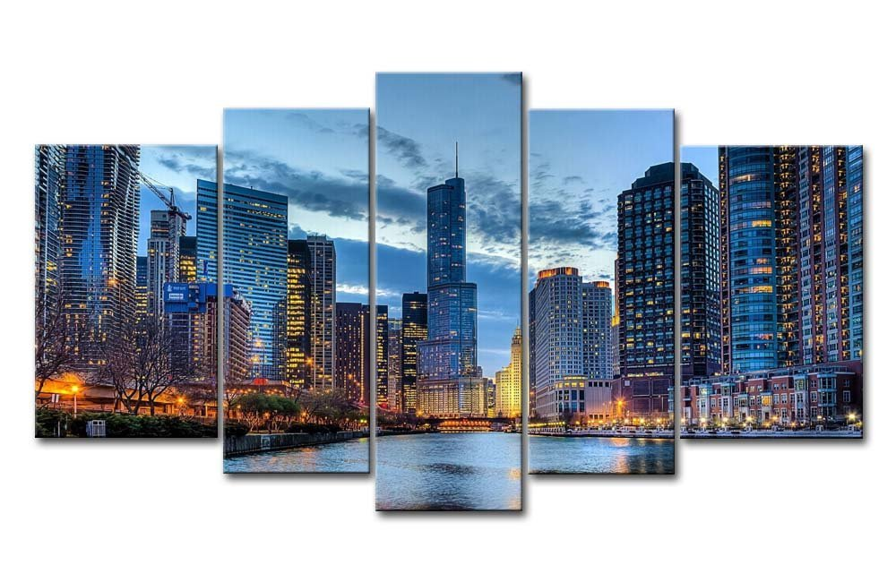 5 Panel Wall Art Painting Chicago Illinois Usa Pictures Prints On Canvas City The Picture Decor Oil For Home Modern Decoration Print
