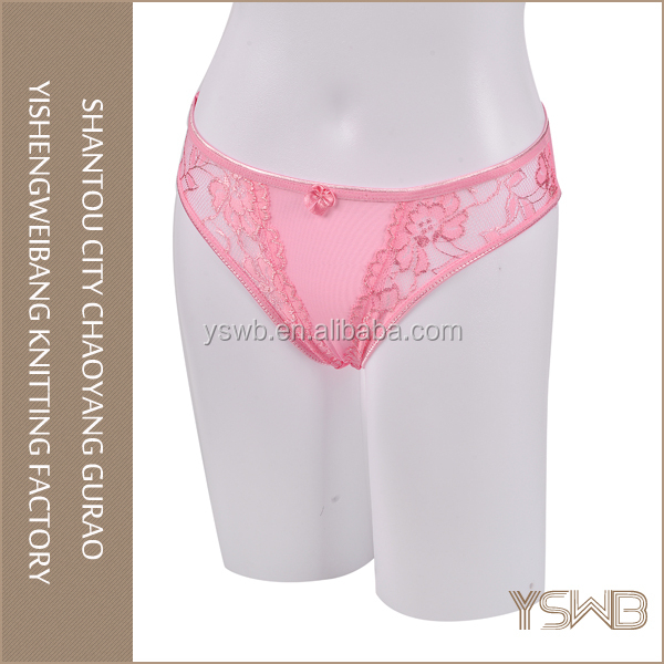 Hot selling good quality cotton hipster pink lace adult size cute panties