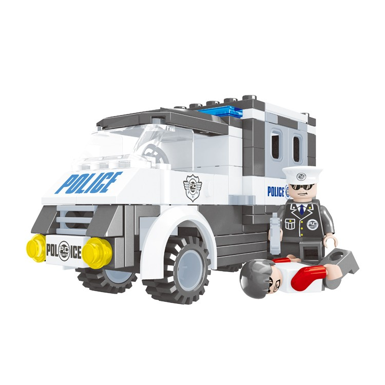 128 pcs general store items 3d brick police car diy block toys for kids