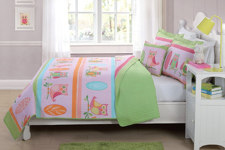 Fancy Linen Bedspread Coverlet 4 PC Full Size Owl Pink Green Blue Orange Reversible Kids/Teens/Girls New #Hoot