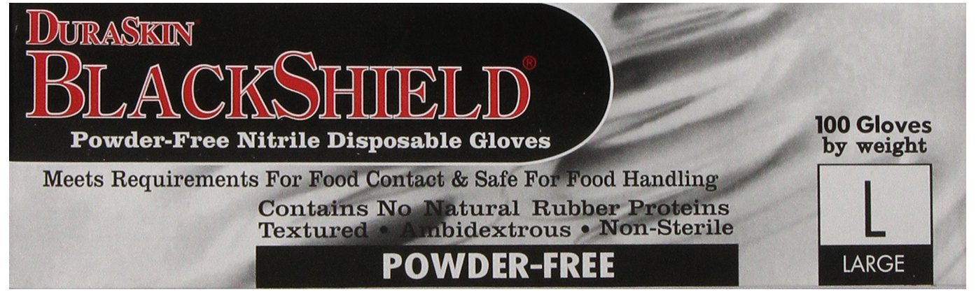 Liberty Glove & Safety 2015W-L DuraSkin BlackShield 5 mil Large Nitrile Powder-Free Disposable Gloves, (Pack of 100)