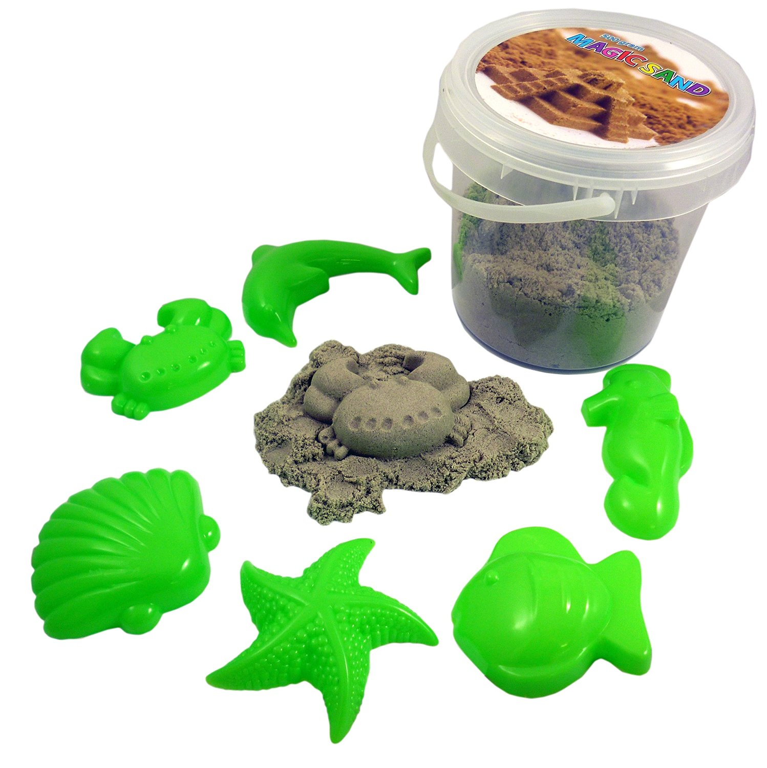 SAND Magic Sand 500g With 6 Shell Moulds- Sculpture, Mould and Play [Toy]