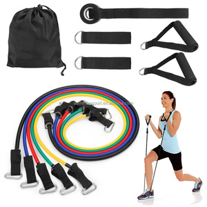 Wellshow Sport 100% Latex Exercise 12pcs Resistance Bands Set With Door Anchor Foam Handle Ankle Strap Carry Bag