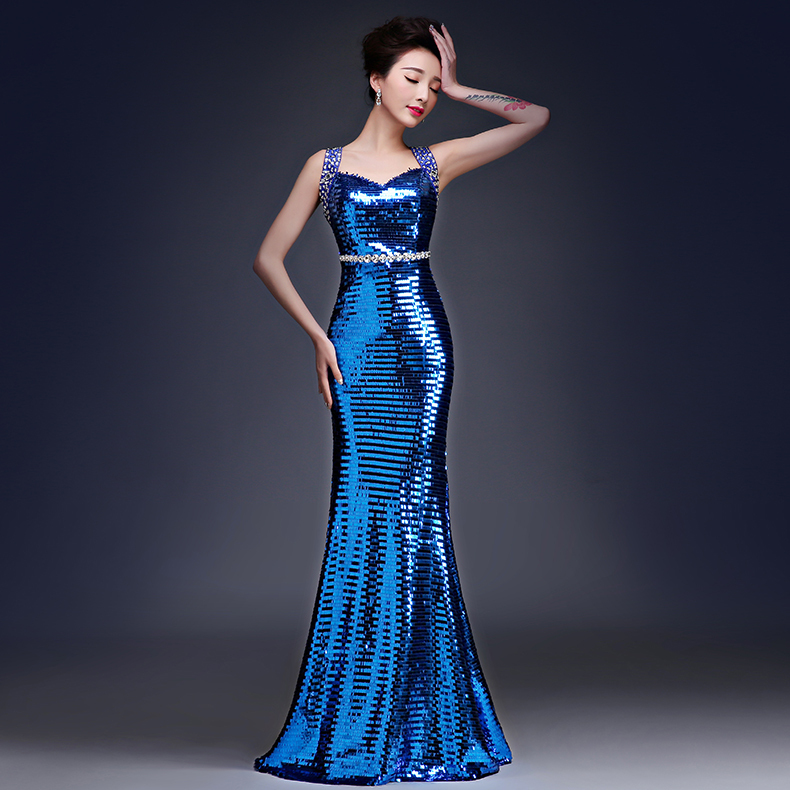 Gold silver navy blue purple Luxury prom dresses 2015 Sexy