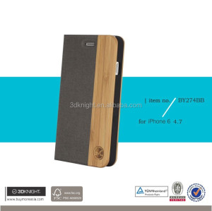 Hot sale mobile phone accessory genuine leather flip wood cell phone case for leather iphone case