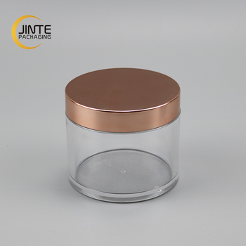Plastic packaging rose gold cap 250g single wall cosmetic clear PETG jar for hair products