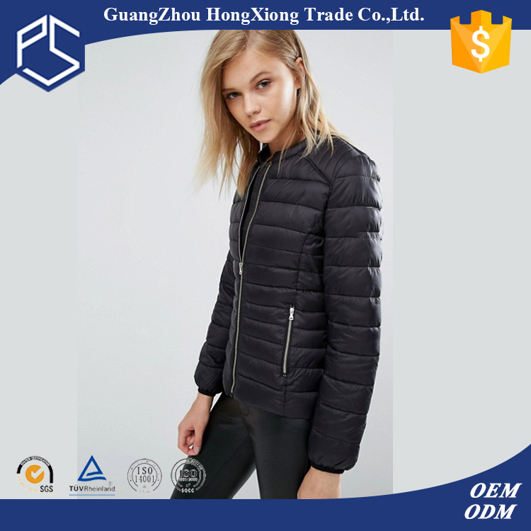 Gungzhou High Quality Black Customize Duck Feather Filler Plain Jacket Winter Fashion Down Women Coat