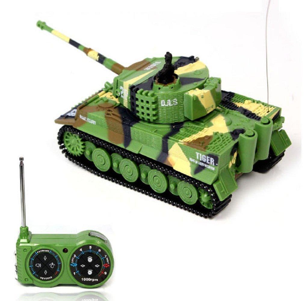 Rukiwa Mini 1:72 49MHz R/C Radio Remote Control Tiger Tank 20M Kids Toy Green