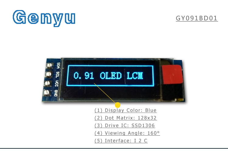 COG 20 pin FPC SSD1306BZ Drive IC 128*64 dots single Color Display 0.91 inch Monochrome oled screen wholesale China manufacturer