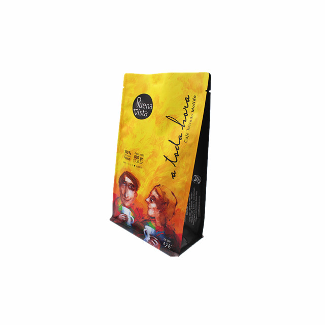 New product Customized plastic flat bottom coffee bag with tear notch