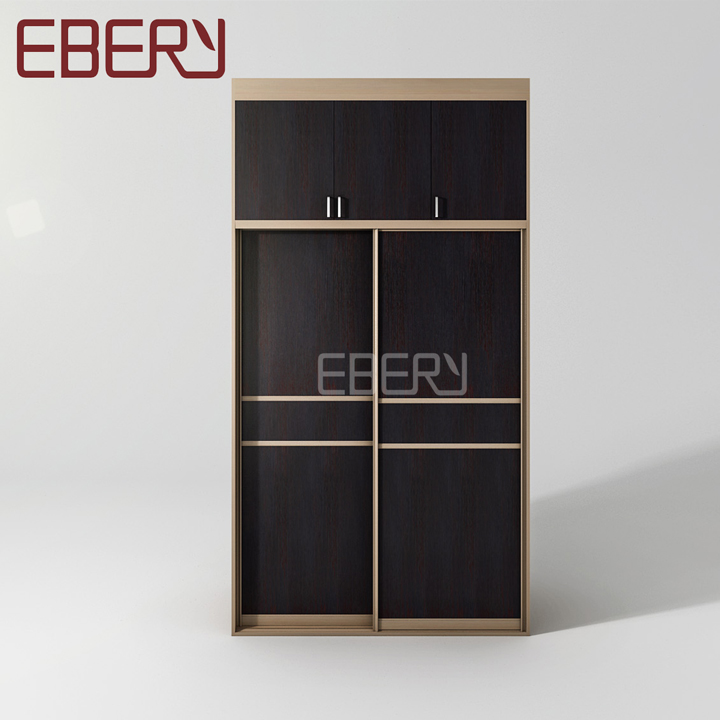 Wooden soft closing sliding door almirah with trousers hanger