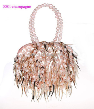 0048 Champagne New Design Sequins And Pearls Women Evening Clutch Bag Lovely Party