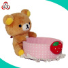 Fashion cute school plush pen container, lovely stuffed plush animal toy brush pot