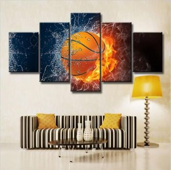 Hot Sale Fire Basketball Hd Poster Bedroom Wall Decoration Oil Painting On  Canvas With Frame - Buy Oil Painting,New Design Wall Decoration Oil ...