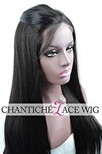 Chantiche® Natural Looking Yaki Straight Lace Front Wigs 6a Brazilian Human Hair Lace Wigs 150 Density Medium Size Cap Medium Brown Lace 18 Inches Natural Corlor