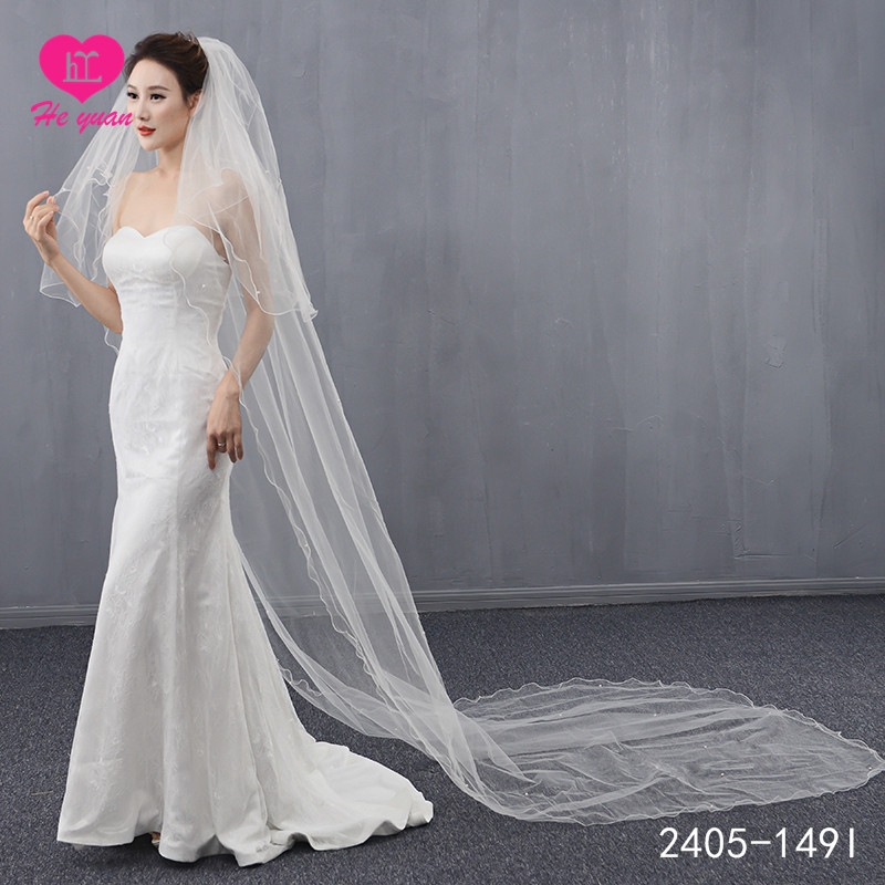 2405-149I New design wedding accessories lace high quality two layers bridal veils