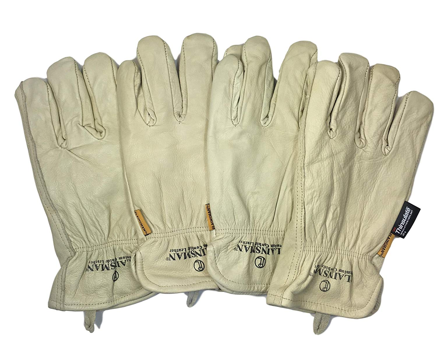 c07aa61e8d09a Get Quotations · Large - Plainsman - 2 Pairs - Premium Cowhide Leather Work  Gloves 3M Thinsulate Insulation Fleece