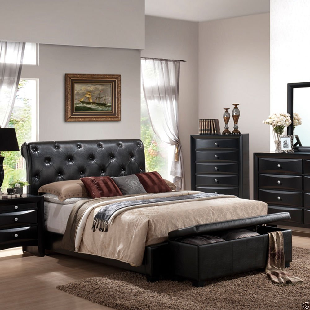 1PerfectChoice Modern Tufted Black Bycast Faux Leather Low Profile Upholstered Queen King Bed