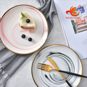 P001 6,8,10 inches silver golden rim food dinner cake tea porcelain ceramic marble surface dinner plates