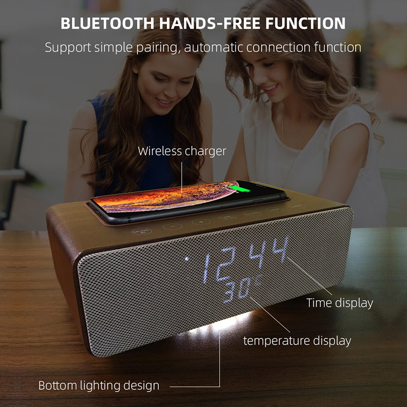 M15 wooden subwoofer speaker with wireless charger, wireless bluetooth home wooden speaker