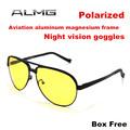 2015 Aluminum Magnesium Men Polarized Driving Sunglasses Yellow Lens Night Vision Driving Glasses Polaroid Goggles Reduce